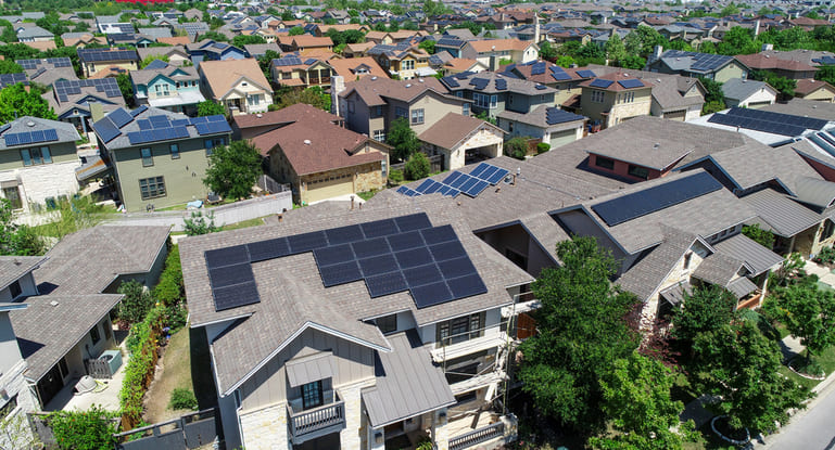 Neighborhood of homes with Solar Panels